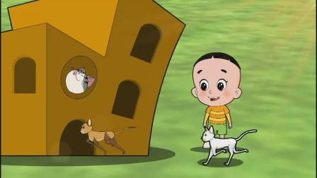 新大头儿子:大头和爸爸用废纸箱给小猫做房子,小狗们也想住