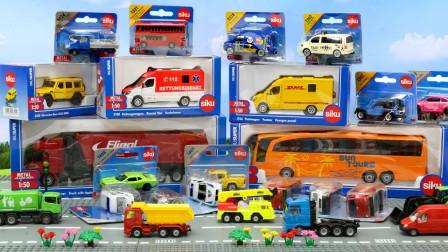 开箱多款siku合金汽车模型 大型仿真工程车和迷你玩具车