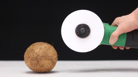 用A4纸能将椰子壳切开吗?老外实力操作,看完不敢相信自己眼睛!