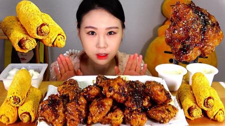 """韩国吃播:""""BHC黑橄榄炸鸡+芝士粉热狗"""",看着真诱人,吃得真香"""