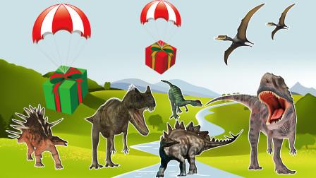 降落伞带来了几个盒子 里面装着不同的恐龙