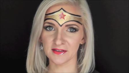 小姐姐模仿神奇女侠,在脸上化上图案,是不是超级像