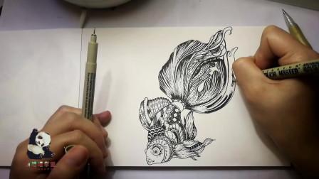 嘻嘻喵学画第26期-画一只冒泡得金鱼  线描基础绘画不需要技巧 一画就会 快来试试吧