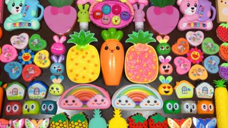 菠萝水晶泥+彩虹黏土+蝴蝶彩泥,创意史莱姆,无硼砂效果超棒呢