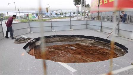 """危险!广西南宁一道路深夜发生塌陷,突现4米""""圆形大坑"""""""