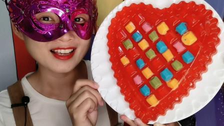"""小姐姐吃创意""""钻石爱心橡皮糖"""",五颜六色亮晶晶,香甜Q软好吃"""