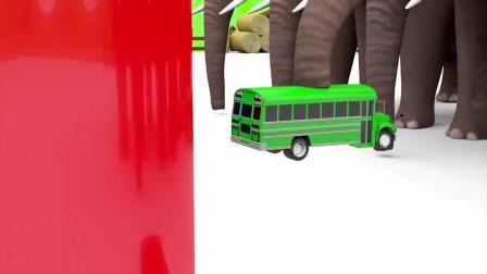 趣味益智动画片 大象从水里捞出各种汽车