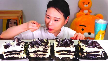 韩国大胃王卡妹,试吃奥利奥奶油抹茶蛋糕,看她吃口水都流出来了