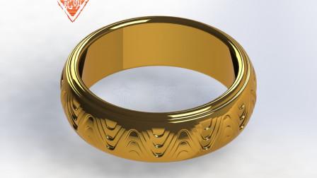 亦明3D:SolidWorks建模,波浪纹扳指,用曲面和拉伸切除绘制渐消面