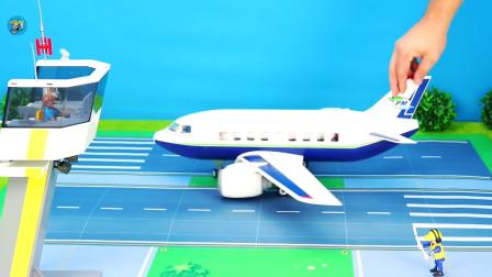 惯性玩具车大轮渡白色直升飞机。儿童玩具亲子互动