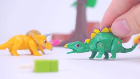 小黄人用雪糕陷阱车抓走小恐龙快救它啊