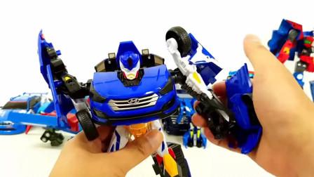 相同颜色大小不同的汽车机器人玩具组装细节展示