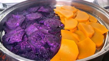 1块南瓜,1个紫薯,不用煮,不用炒,这样简单一做,太馋人了