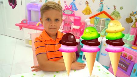 萌娃小可爱的冰淇淋店开业了,小家伙的手艺可真棒呀!—萌娃:你的西瓜味冰淇淋做好啦!