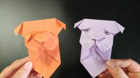 手工折纸:一张纸折出可爱的沙皮狗书签,有趣实用!