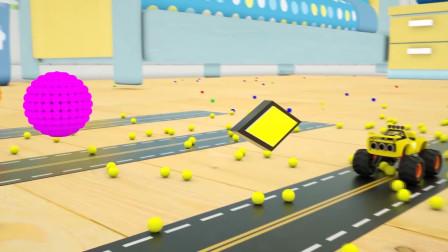 乐享知识乐园教你认识成功闯过小球障碍的黄色汽车