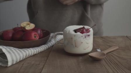 《韩国农村美食》酸甜可口的苹果,和肉桂一起做成牛奶饮品,看着很美味的样子