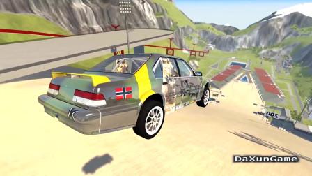 车祸模拟器:装了防滚架的轿车就是不一样,汽车强度增加了好几倍