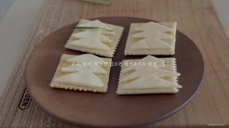 《韩国农村美食》黄瓜配上芝士片做成精致的形状,这样的点心谁都爱吃