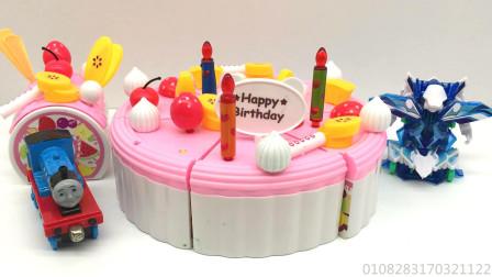 玩具SHOW托马斯小火车 第一季 托马斯和爆裂飞车过生日吃蛋糕