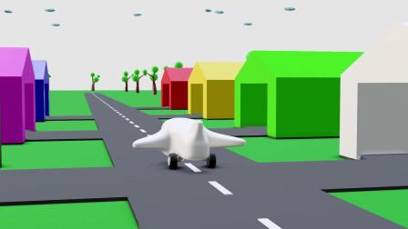 趣味益智动画片 七彩飞机从跑道上起飞