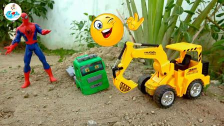汽车工程车和复仇者联盟寻找和组装搅拌车玩具,婴幼儿宝宝玩具过家家游戏视频M100