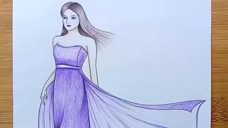 教你如何一步一步画一个穿着漂亮的女孩-铅笔画艺术视频
