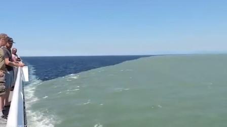 两片海洋呈现不用样的颜色,不能融合到一起,是怎么回事呢