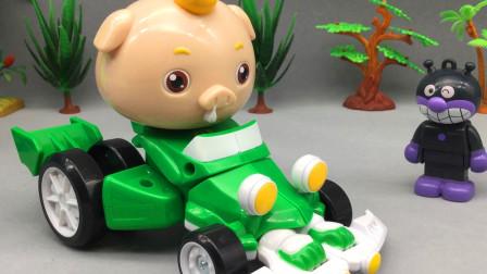 童趣游戏面包超人 第一季 细菌小子分享猪猪侠小呆呆变身卡丁车