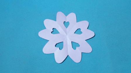 剪纸小课堂: 五角心形团花, 儿童喜欢的手工DIY, 动手又动脑