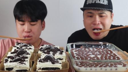 """韩国donkey吃播:""""奥利奥蛋糕+麦丽素+新鲜牛奶"""",吃得真过瘾啊"""