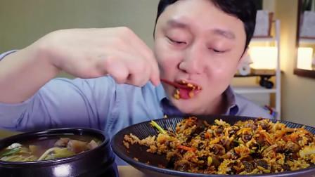 吃播大胃王:美食之海鲜拌饭,搭配高汤十分美味!