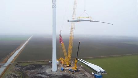 震撼,近距离拍摄风力发电机安装,比我想象中大的多