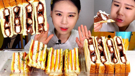 """韩国吃播:""""韩式网红三明治面包"""",看着真诱人,卡妹吃得真过瘾"""
