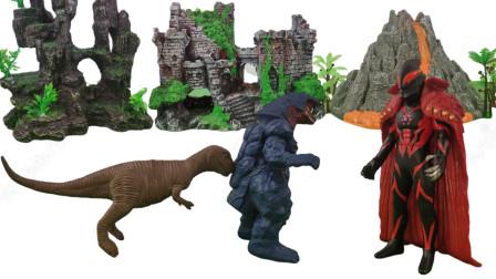 火焰歌尔赞的尾巴被霸王龙咬掉凯撒皇帝贝利亚与恐龙发生争斗拿回了小怪兽的尾巴