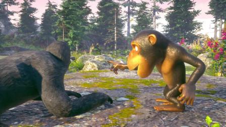 趣味益智动画片 猴子大猩猩在池塘里抓鱼