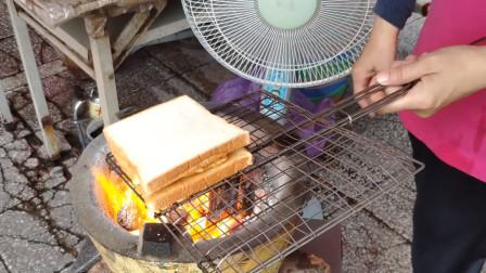台南早餐,碳烤三明治,老奶奶做的很好吃