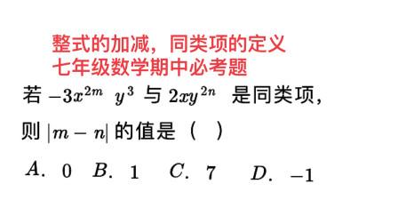 整式的加减,同类项的定义,七年级数学期中必考题