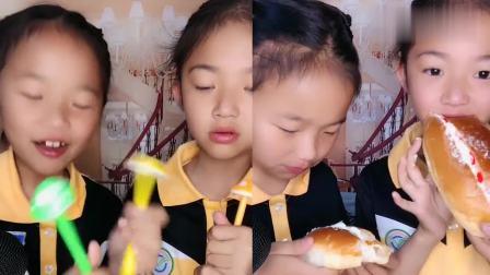 调皮姐妹俩直播吃毛毛虫面包,满满的儿时回忆,是我向往的生活