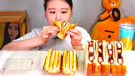 韩国大胃王卡妹,试吃自制三明治,两三口吃一个太过瘾了