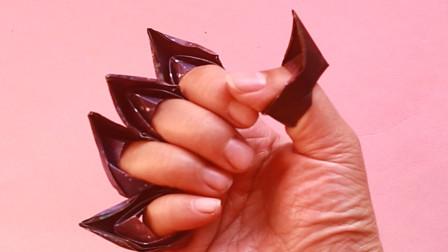 万圣节给小朋友们折猫爪玩吧,折法非常简单,手工折纸教程