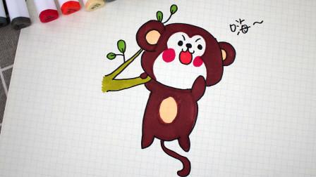一分钟画一只爬树的小猴子!