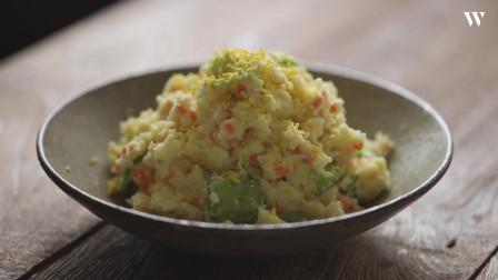 韓國農村美食美味的土豆沙拉放入爽脆黃瓜片美味爽口