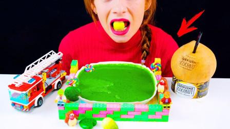 糖果和玩具结合,变得非常有趣,中间的游泳池也能吃!