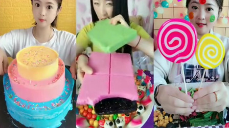 可爱小姐姐吃彩色爆浆蛋糕棒棒糖,一口下去超过瘾!童年向往的生活