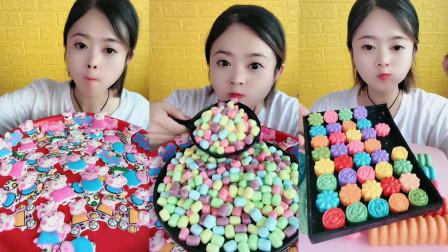 美女试吃各种糖果,每一个都特别想吃,小朋友们,喜欢吃糖吗?