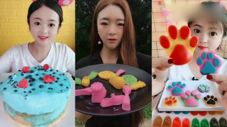 小姐姐直播吃彩色猫爪巧克力、爆浆蛋糕