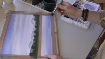 水彩画春天湖泊风景教程