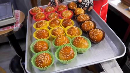 韩国街头小吃——红豆、栗子、豌豆、柚子、地瓜味的蜂蜜小面包