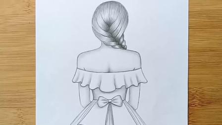 如何为初学者画一个穿漂亮衣服的女孩铅笔素描绘画教程